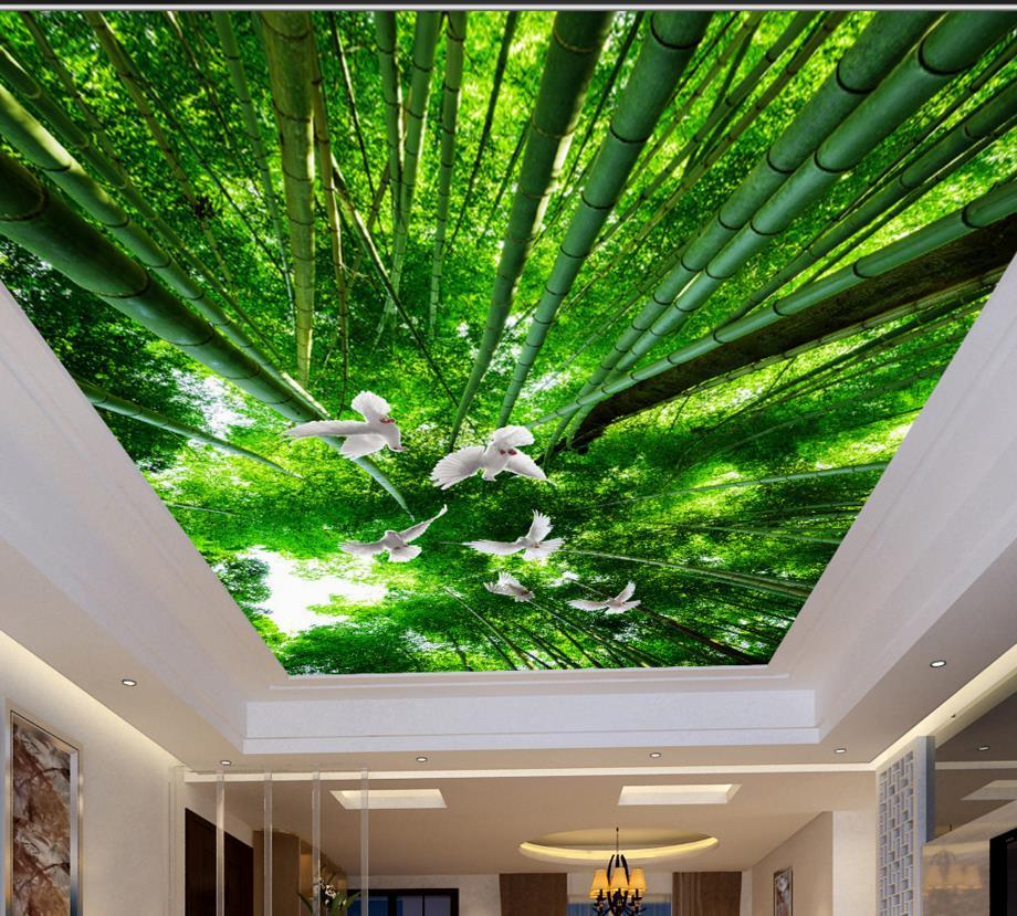 3D-ceiling-bamboo-pigeons-wallpaper-custom-fresh-HD-3d-ceiling-murals-HD-wonderful-non-woven-wallpaper
