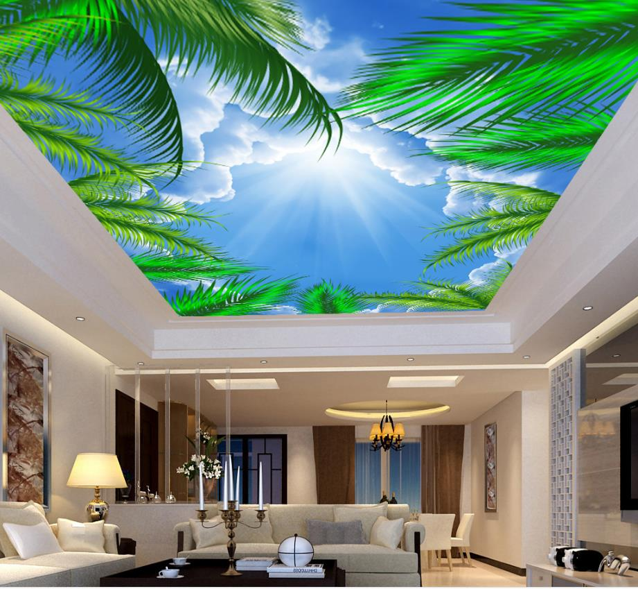 Coconut-trees-blue-sky-sunshine-3d-ceiling-wallpaper-room-design-home-improvement-ceiling-wallpaper-murals-room