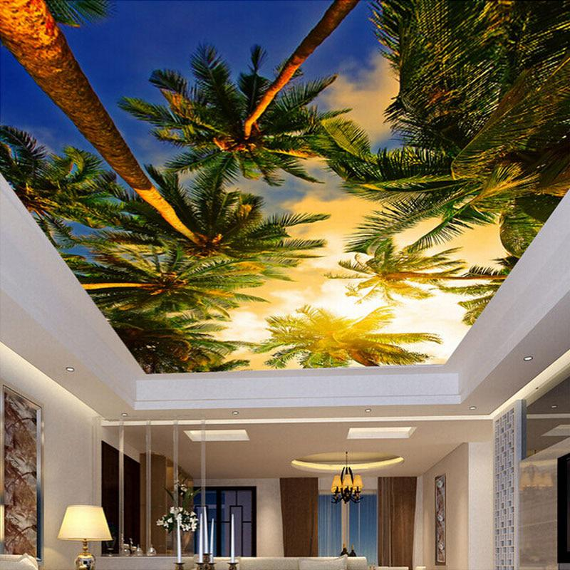 Custom-Any-Size-Sunset-Coconut-Photo-Wallpaper-Living-Room-Bedroom-Ceiling-Mural-Wallpaper-Wall-Covering-Roll